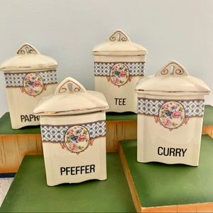 Vintage European Ceramic Spice Canisters